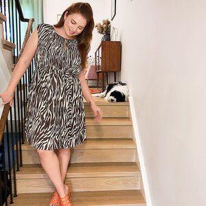 NEW! Animal Print Pleated Dress - Size 22